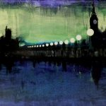 Impressionistic painting of London Bridge at night towards Big Ben clock tower.