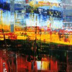 Goodbye Mumbai – 2015 Abstract impressionistic painting of city of Mumbai.