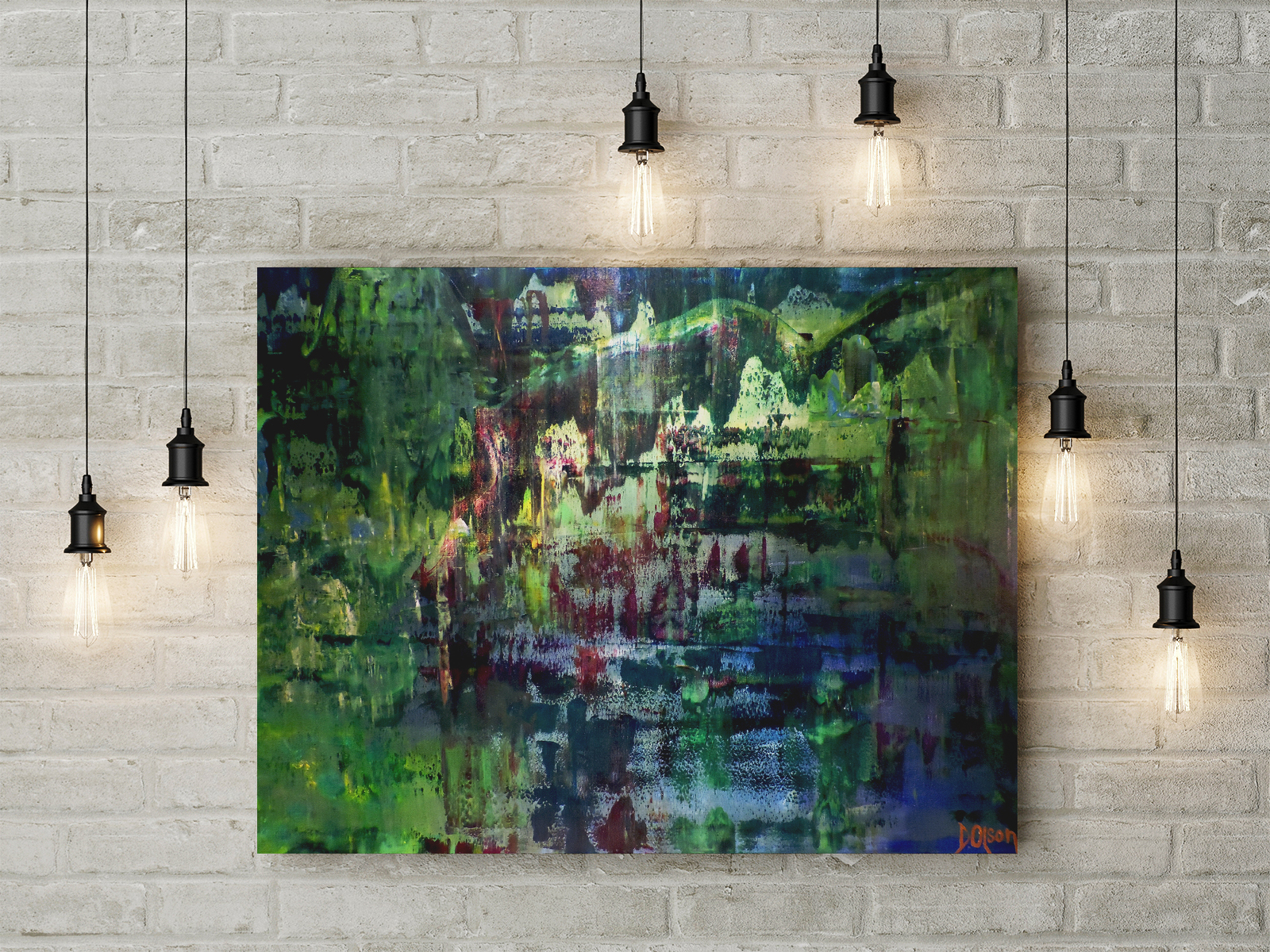 Abstract Impressionistic painting of mountains, forest and lakeon wall.