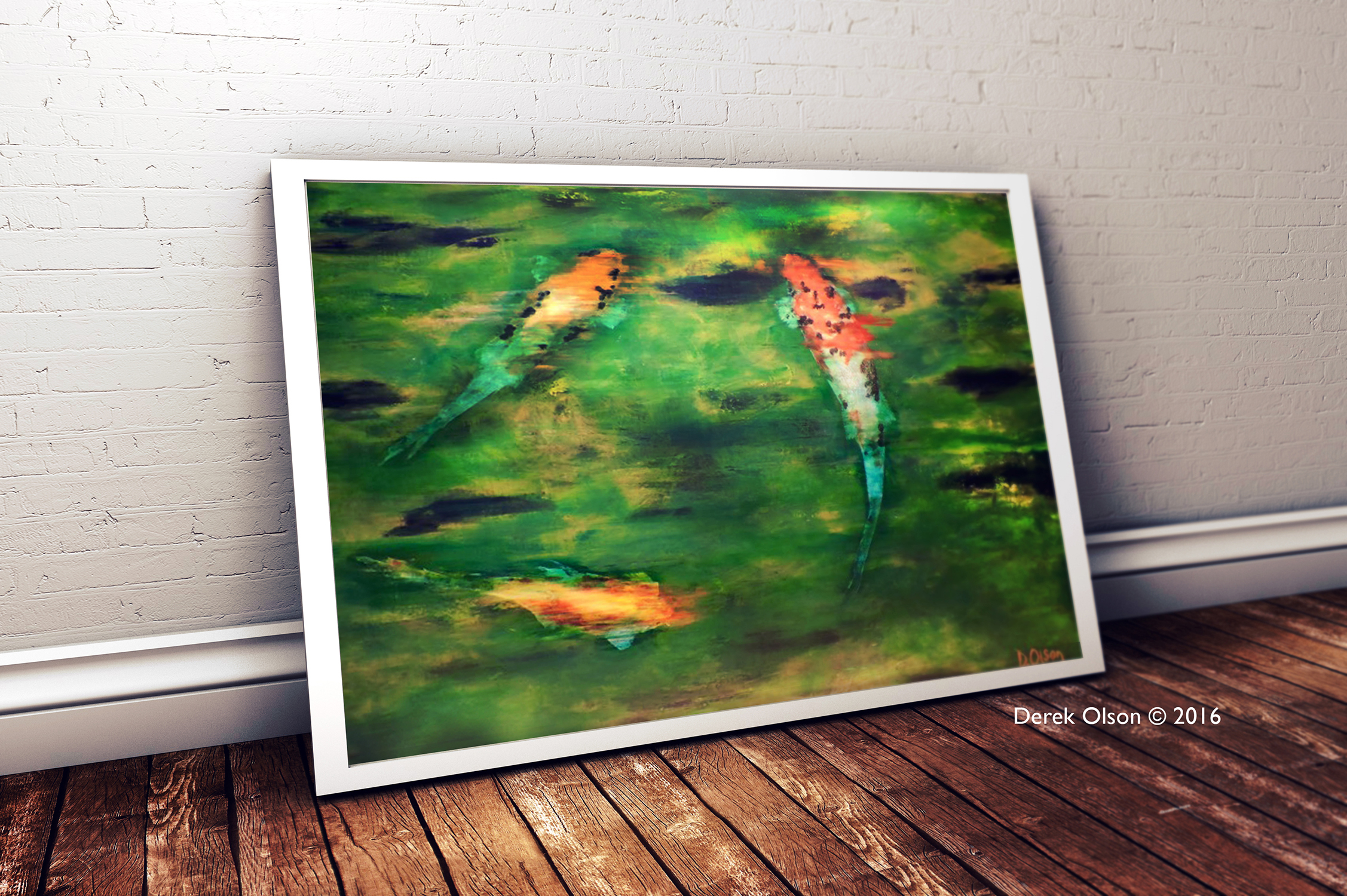Impressionistic painting of three large koi with green hue.