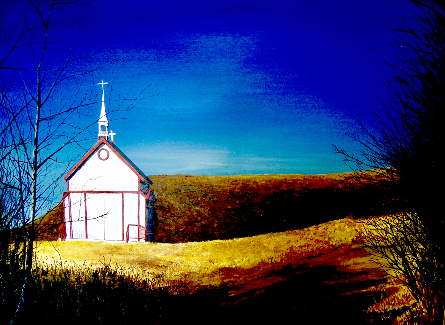 Large painting of small wooden church on hill at Lebret with crooked crosses.