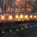 Impressionistic painting of city street lights reflecting on water in harbour with catherdal in the background..