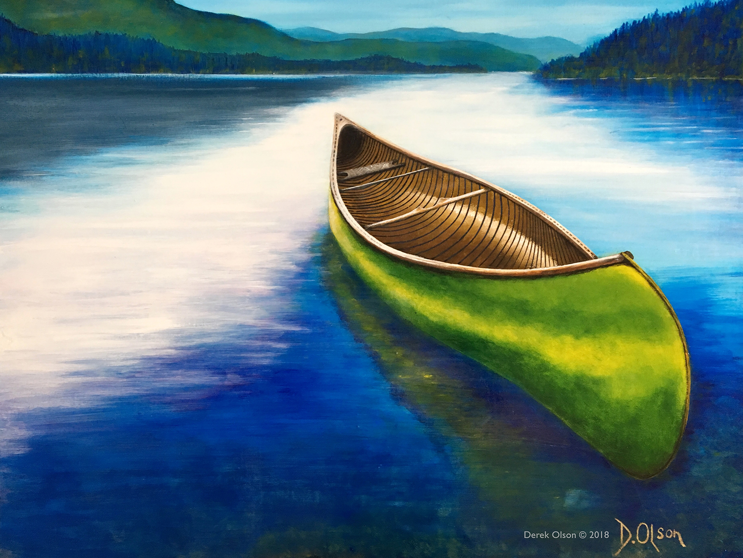 Surreal painting of canoe sitting on mountain lake with no passengers.