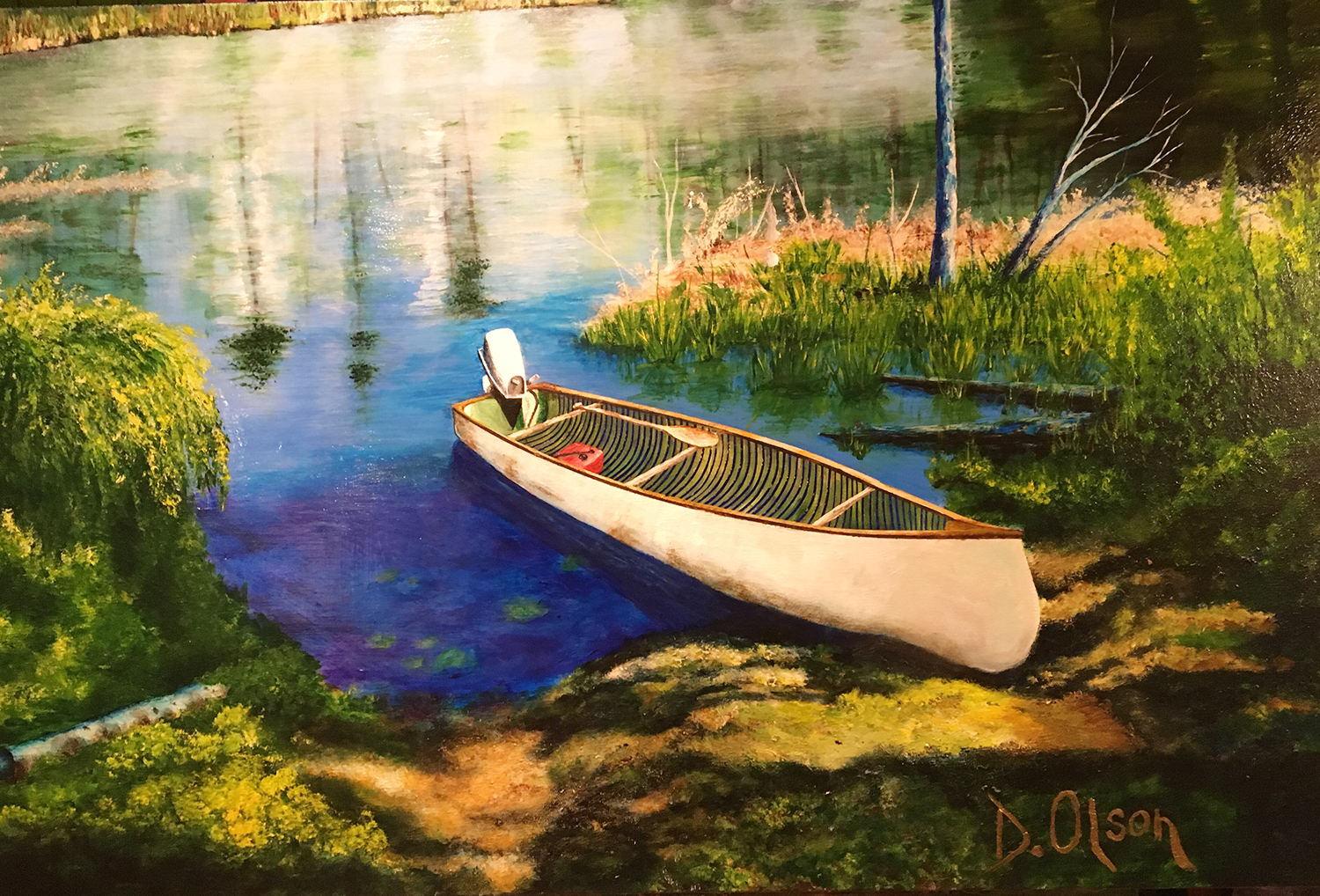 Painting of freighter canoe pulled onton lake shore.