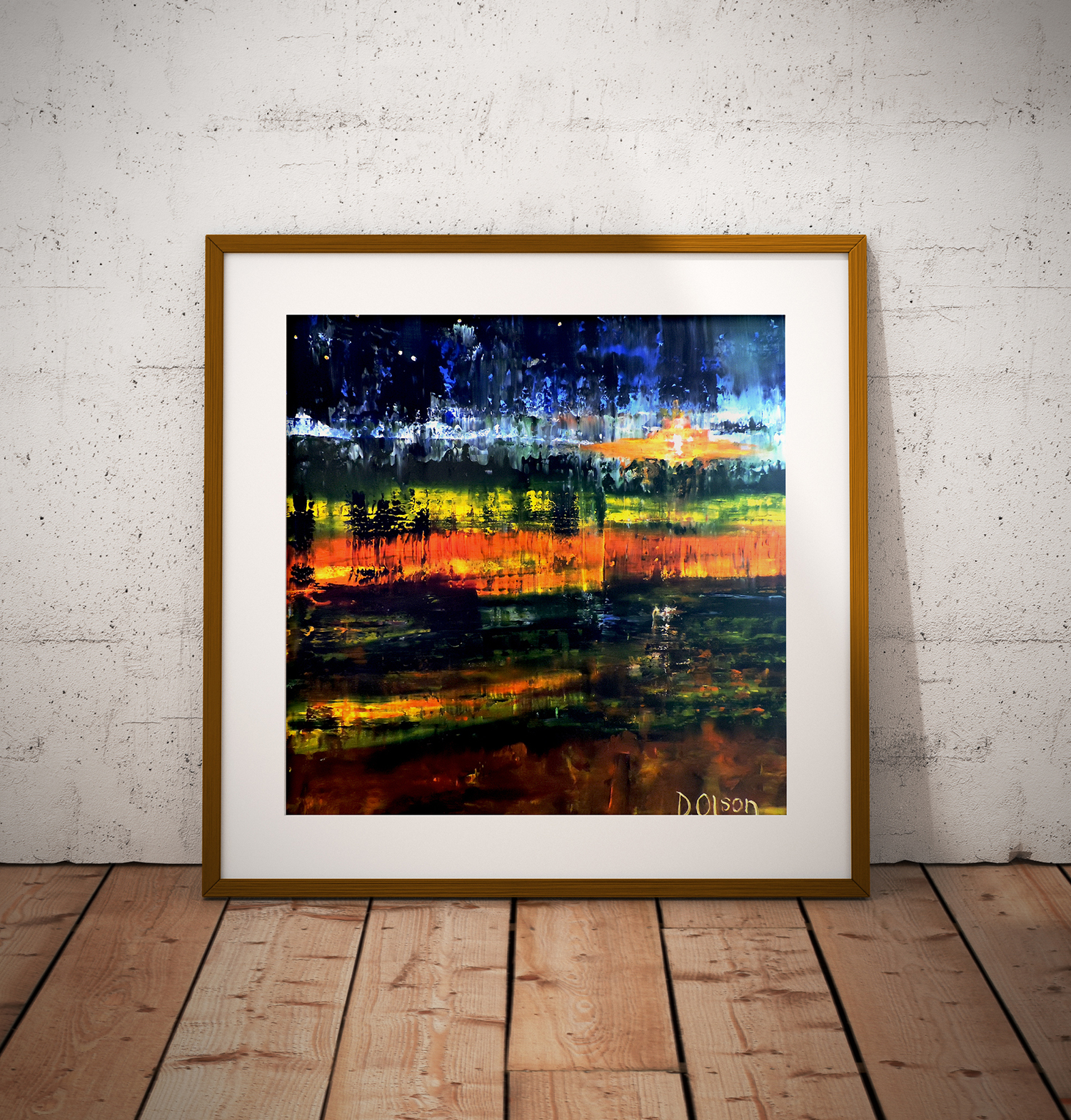 Impressionistic painting framed and sitting on floor.