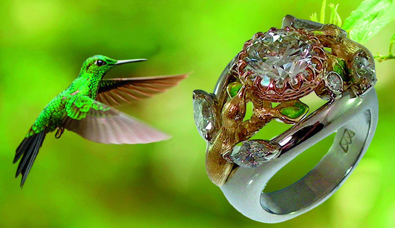 Humming Birds Diamond Ring